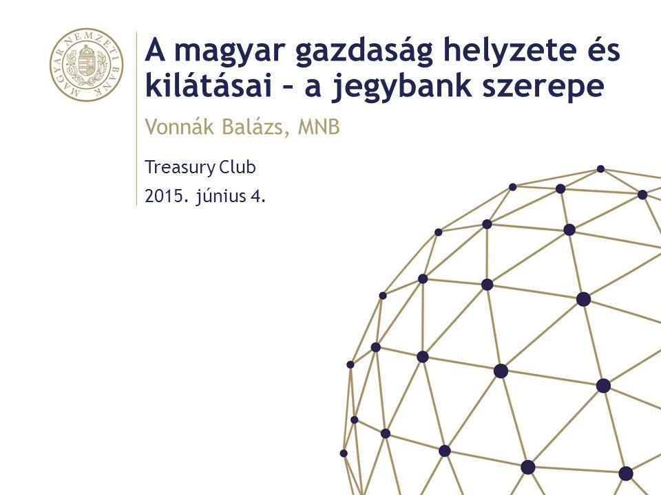 A magyar gazdaság helyzete és kilátásai – a jegybank szerepe Treasury Club Vonnák Balázs, MNB 2015.