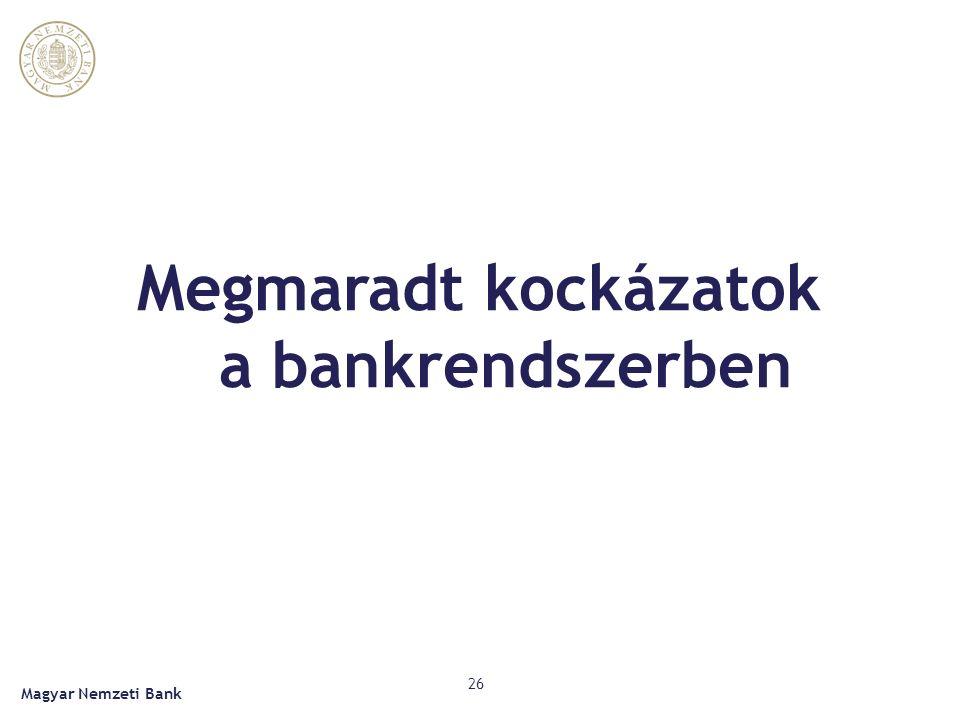 Megmaradt kockázatok a bankrendszerben Magyar Nemzeti Bank 26