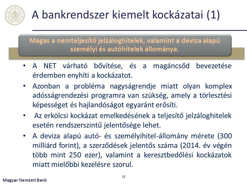 A bankrendszer kiemelt kockázatai (1) Magas a nemteljesítő jelzáloghitelek, valamint a deviza alapú személyi és autóhitelek állománya.