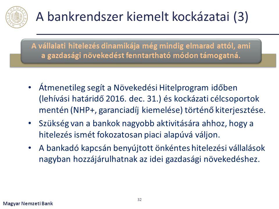 A bankrendszer kiemelt kockázatai (3) A vállalati hitelezés dinamikája még mindig elmarad attól, ami a gazdasági növekedést fenntartható módon támogat