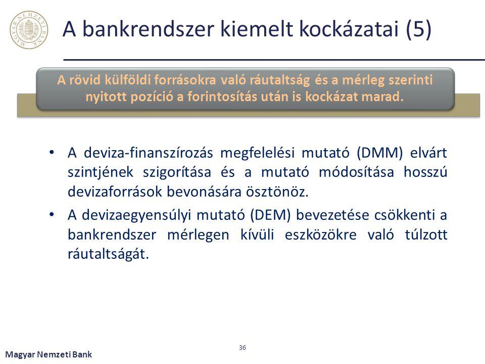 A bankrendszer kiemelt kockázatai (5) A rövid külföldi forrásokra való ráutaltság és a mérleg szerinti nyitott pozíció a forintosítás után is kockázat marad.