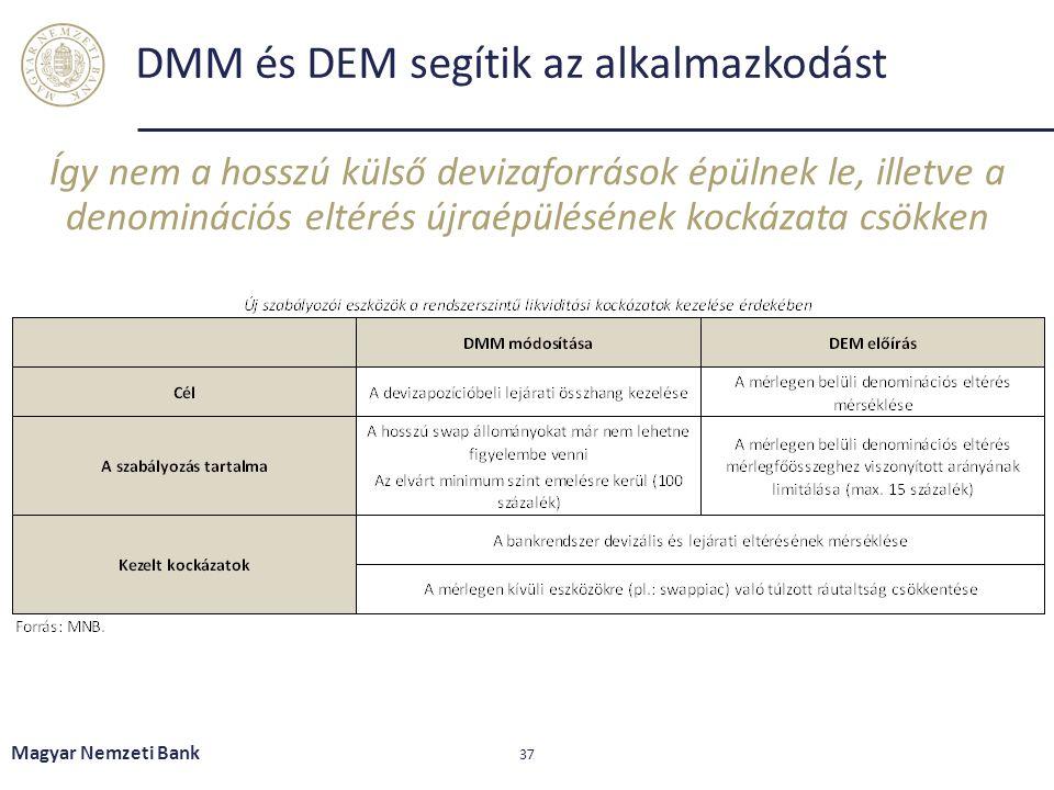 DMM és DEM segítik az alkalmazkodást Így nem a hosszú külső devizaforrások épülnek le, illetve a denominációs eltérés újraépülésének kockázata csökken Magyar Nemzeti Bank 37