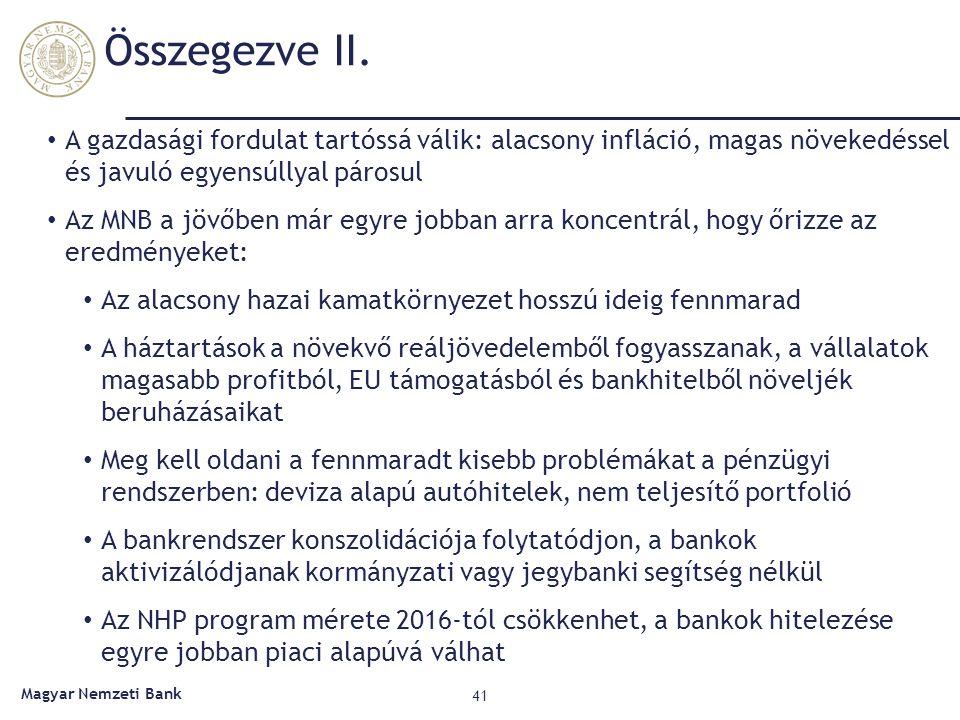 Összegezve II. 41 Magyar Nemzeti Bank A gazdasági fordulat tartóssá válik: alacsony infláció, magas növekedéssel és javuló egyensúllyal párosul Az MNB