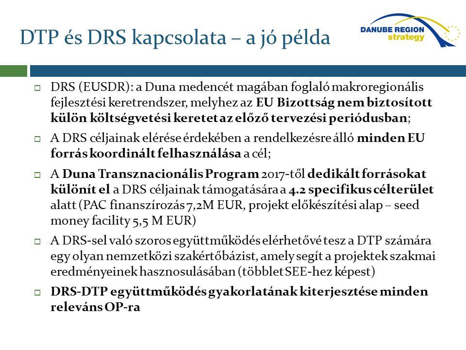 DTP és DRS kapcsolata – a jó példa  DRS (EUSDR): a Duna medencét magában foglaló makroregionális fejlesztési keretrendszer, melyhez az EU Bizottság nem biztosított külön költségvetési keretet az előző tervezési periódusban;  A DRS céljainak elérése érdekében a rendelkezésre álló minden EU forrás koordinált felhasználása a cél;  A Duna Transznacionális Program 2017-től dedikált forrásokat különít el a DRS céljainak támogatására a 4.2 specifikus célterület alatt (PAC finanszírozás 7,2M EUR, projekt előkészítési alap – seed money facility 5,5 M EUR)  A DRS-sel való szoros együttműködés elérhetővé tesz a DTP számára egy olyan nemzetközi szakértőbázist, amely segít a projektek szakmai eredményeinek hasznosulásában (többlet SEE-hez képest)  DRS-DTP együttműködés gyakorlatának kiterjesztése minden releváns OP-ra