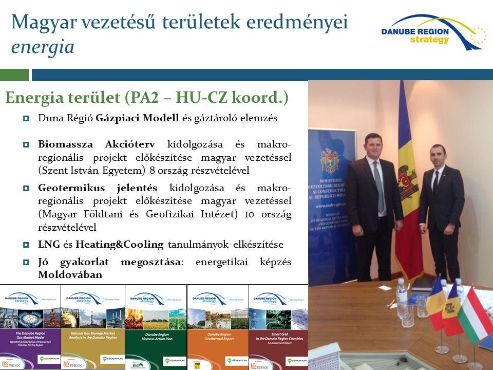 Magyar vezetésű területek eredményei energia  Biomassza Akcióterv kidolgozása és makro- regionális projekt előkészítése magyar vezetéssel (Szent István Egyetem) 8 ország részvételével  Geotermikus jelentés kidolgozása és makro- regionális projekt előkészítése magyar vezetéssel (Magyar Földtani és Geofizikai Intézet) 10 ország részvételével  LNG és Heating&Cooling tanulmányok elkészítése  Jó gyakorlat megosztása: energetikai képzés Moldovában Energia terület (PA 2 – HU-CZ koord.)  Duna Régió Gázpiaci Modell és gáztároló elemzés