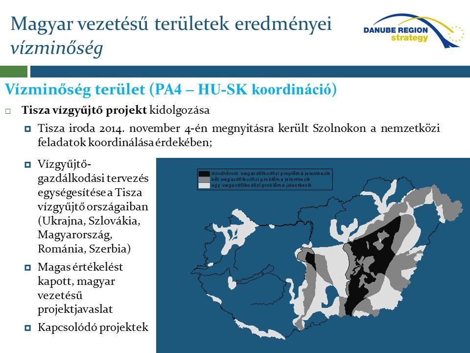 Magyar vezetésű területek eredményei vízminőség Vízminőség terület (PA 4 – HU-SK koordináció )  Tisza vízgyűjtő projekt kidolgozása  Tisza iroda 201
