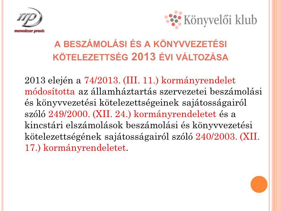 A KORMÁNYRENDELET MÓDOSÍTÁSÁNAK CÉLJA, INDOKAI A változást elsősorban az általános jogszabályi környezet 2013 évi változása elsősorban - Magyarország 2013 évi költségvetéséről szóló törvény - Az államháztartásról szóló 2011.