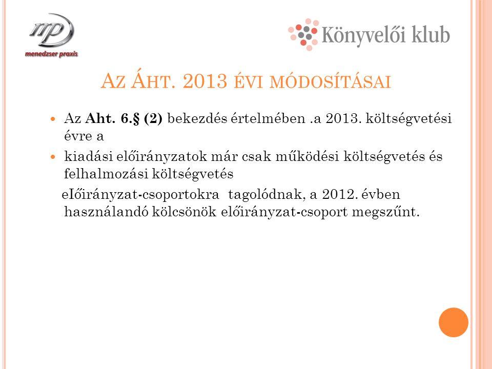 A Z Á HT. 2013 ÉVI MÓDOSÍTÁSAI Az Aht. 6.§ (2) bekezdés értelmében.a 2013.