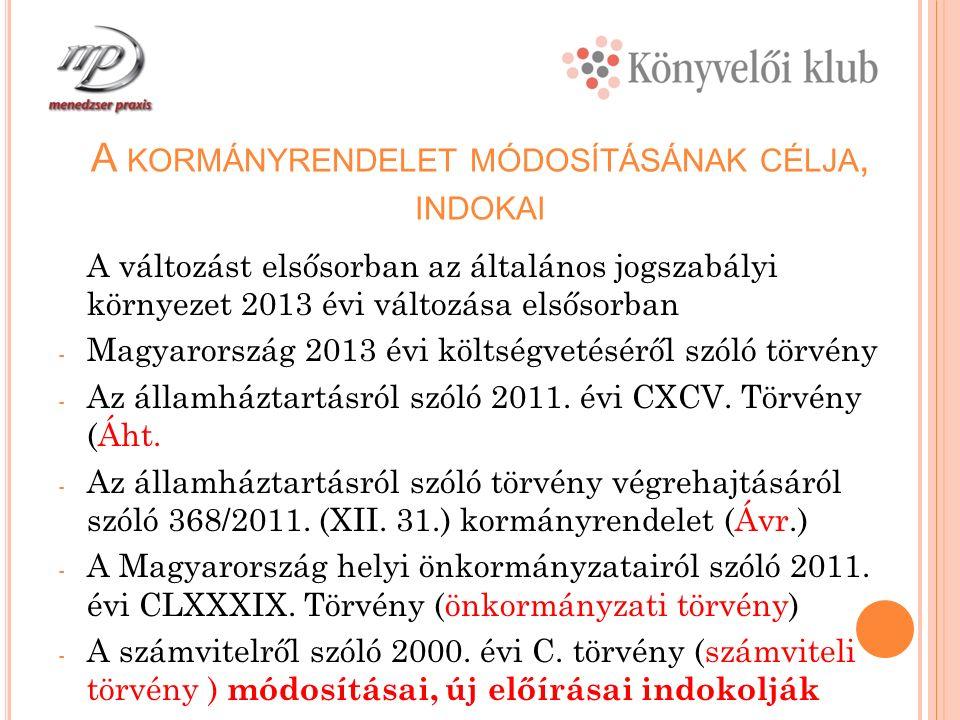 A Z Á HT.2013 ÉVI MÓDOSÍTÁSAI Változás a belső ellenőrzéssel kapcsolatban: 2013.