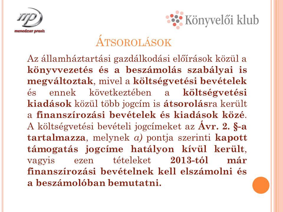 A 2012.ÉVBEN AZ ADÓSSÁGKONSZOLIDÁCIÓNAK A SZÁMVITELI ELSZÁMOLÁSA 4.