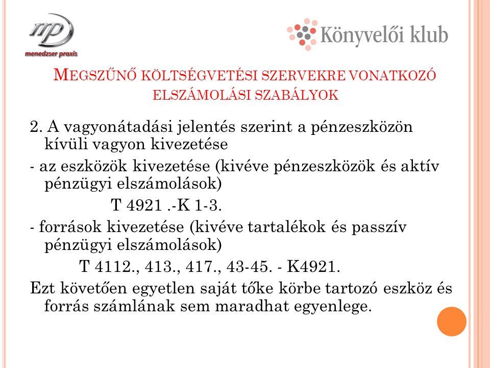 M EGSZŰNŐ KÖLTSÉGVETÉSI SZERVEKRE VONATKOZÓ ELSZÁMOLÁSI SZABÁLYOK 2.