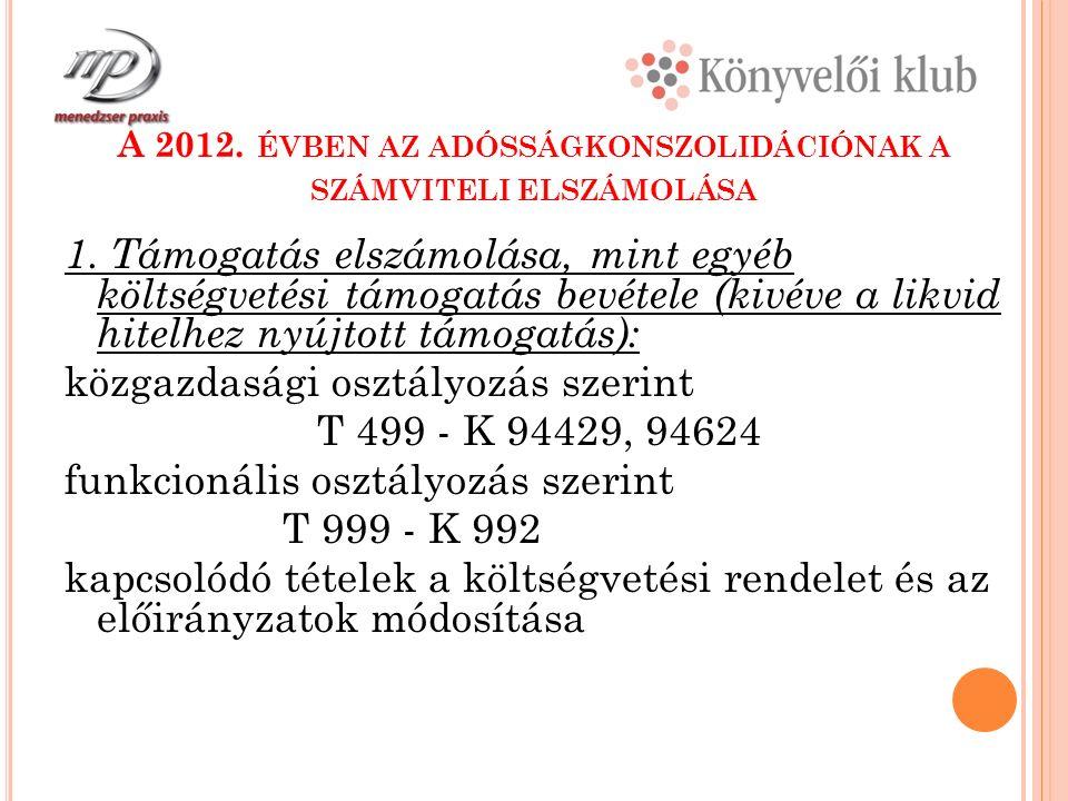 A 2012. ÉVBEN AZ ADÓSSÁGKONSZOLIDÁCIÓNAK A SZÁMVITELI ELSZÁMOLÁSA 1.