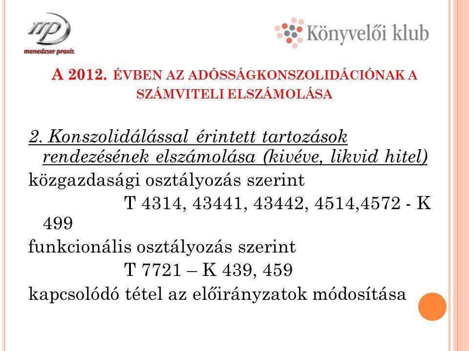 A 2012. ÉVBEN AZ ADÓSSÁGKONSZOLIDÁCIÓNAK A SZÁMVITELI ELSZÁMOLÁSA 2.