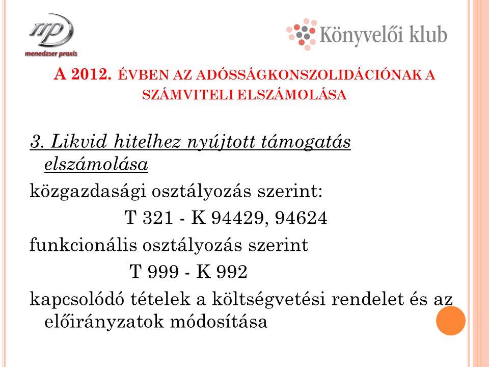 A 2012. ÉVBEN AZ ADÓSSÁGKONSZOLIDÁCIÓNAK A SZÁMVITELI ELSZÁMOLÁSA 3.