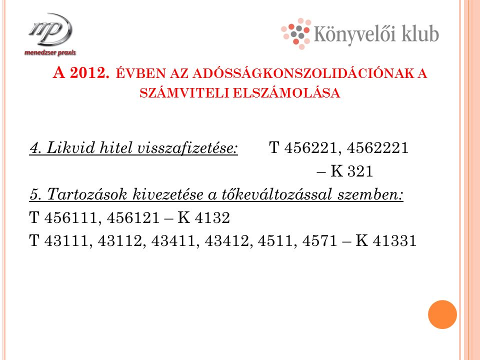 A 2012. ÉVBEN AZ ADÓSSÁGKONSZOLIDÁCIÓNAK A SZÁMVITELI ELSZÁMOLÁSA 4.