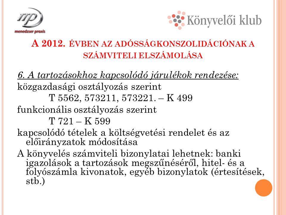 A 2012. ÉVBEN AZ ADÓSSÁGKONSZOLIDÁCIÓNAK A SZÁMVITELI ELSZÁMOLÁSA 6.