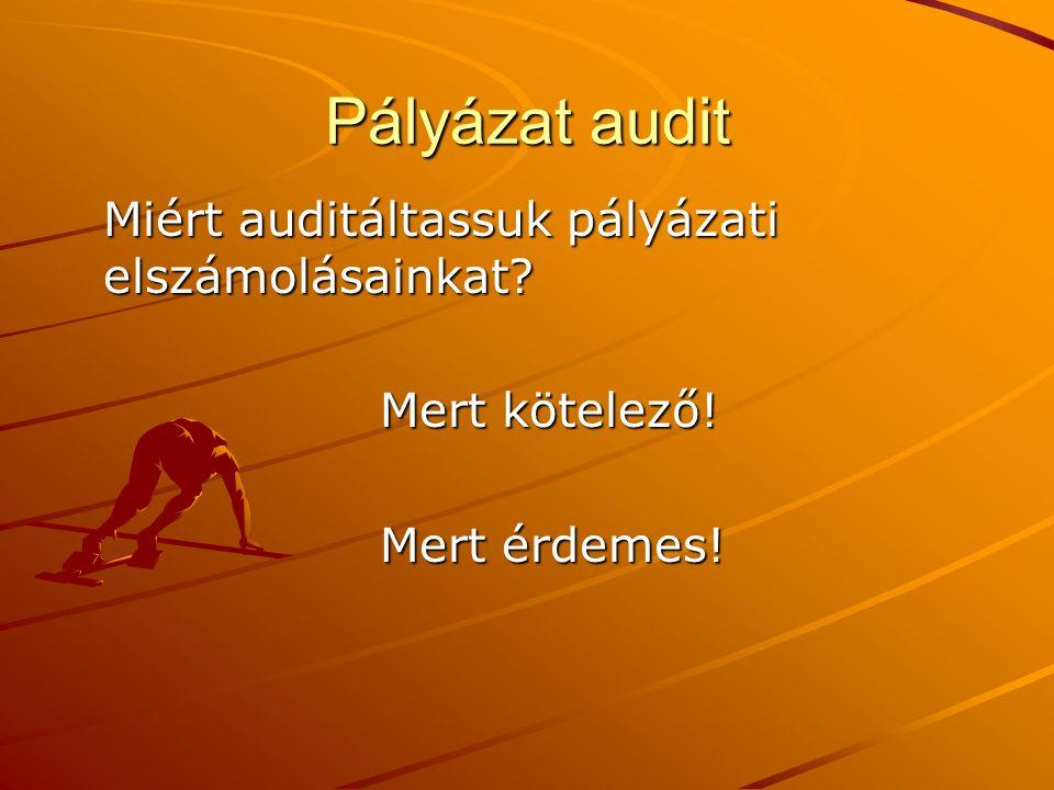 Pályázat audit Miért auditáltassuk pályázati elszámolásainkat? Mert kötelező! Mert érdemes!