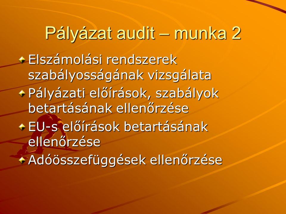 Pályázat audit – munka 2 Elszámolási rendszerek szabályosságának vizsgálata Pályázati előírások, szabályok betartásának ellenőrzése EU-s előírások betartásának ellenőrzése Adóösszefüggések ellenőrzése