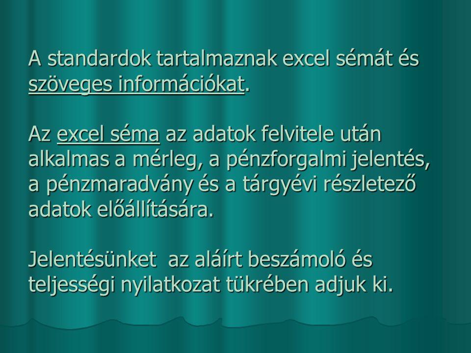 A standardok tartalmaznak excel sémát és szöveges információkat.