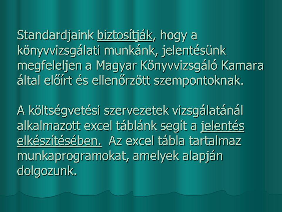 Standardjaink biztosítják, hogy a könyvvizsgálati munkánk, jelentésünk megfeleljen a Magyar Könyvvizsgáló Kamara által előírt és ellenőrzött szempontoknak.