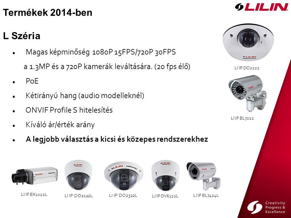 Termékek 2014-ben L Széria LI IP BL7424L LI IP BX1022L LI IP DO2122L LI IP DO2322L LI IP DV6122L LI IP DO2222 LI IP BL7022 Magas képminőség 1080P 15FPS/720P 30FPS a 1.3MP és a 720P kamerák leváltására.