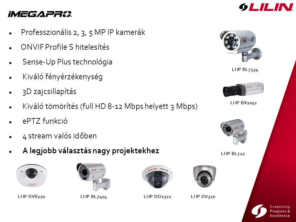 LI IP DV320 LI IP BL7334 LI IP BL7424 LI IP BL722 LI IP DV6220LI IP DO2322 Professzionális 2, 3, 5 MP IP kamerák ONVIF Profile S hitelesítés Sense-Up Plus technológia Kiváló fényérzékenység 3D zajcsillapítás Kiváló tömörítés (full HD 8-12 Mbps helyett 3 Mbps) ePTZ funkció 4 stream valós időben A legjobb választás nagy projektekhez LI IP BX1052