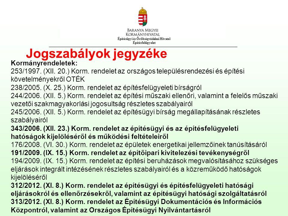 Építésügyi és Örökségvédelmi Hivatal Építésfelügyelet Jogszabályok jegyzéke Kormányrendeletek: 253/1997.