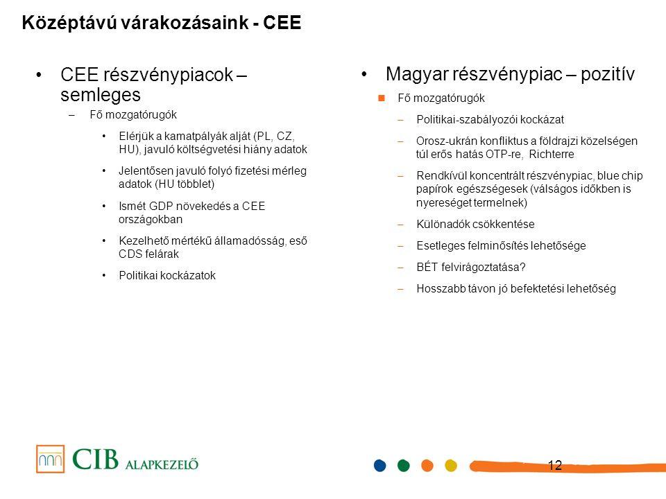12 CEE részvénypiacok – semleges –Fő mozgatórugók Elérjük a kamatpályák alját (PL, CZ, HU), javuló költségvetési hiány adatok Jelentősen javuló folyó fizetési mérleg adatok (HU többlet) Ismét GDP növekedés a CEE országokban Kezelhető mértékű államadósság, eső CDS felárak Politikai kockázatok Középtávú várakozásaink - CEE Magyar részvénypiac – pozitív Fő mozgatórugók –Politikai-szabályozói kockázat –Orosz-ukrán konfliktus a földrajzi közelségen túl erős hatás OTP-re, Richterre –Rendkívül koncentrált részvénypiac, blue chip papírok egészségesek (válságos időkben is nyereséget termelnek) –Különadók csökkentése –Esetleges felminősítés lehetősége –BÉT felvirágoztatása.