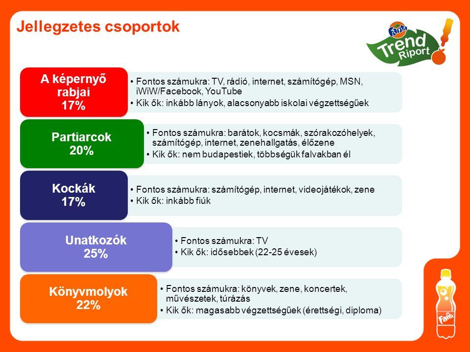 Jellegzetes csoportok Fontos számukra: TV, rádió, internet, számítógép, MSN, iWiW/Facebook, YouTube Kik ők: inkább lányok, alacsonyabb iskolai végzettségűek A képernyő rabjai 17% Fontos számukra: barátok, kocsmák, szórakozóhelyek, számítógép, internet, zenehallgatás, élőzene Kik ők: nem budapestiek, többségük falvakban él Partiarcok 20% Fontos számukra: számítógép, internet, videojátékok, zene Kik ők: inkább fiúk Kockák 17% Fontos számukra: TV Kik ők: idősebbek (22-25 évesek) Unatkozók 25% Fontos számukra: könyvek, zene, koncertek, művészetek, túrázás Kik ők: magasabb végzettségűek (érettségi, diploma) Könyvmolyok 22%