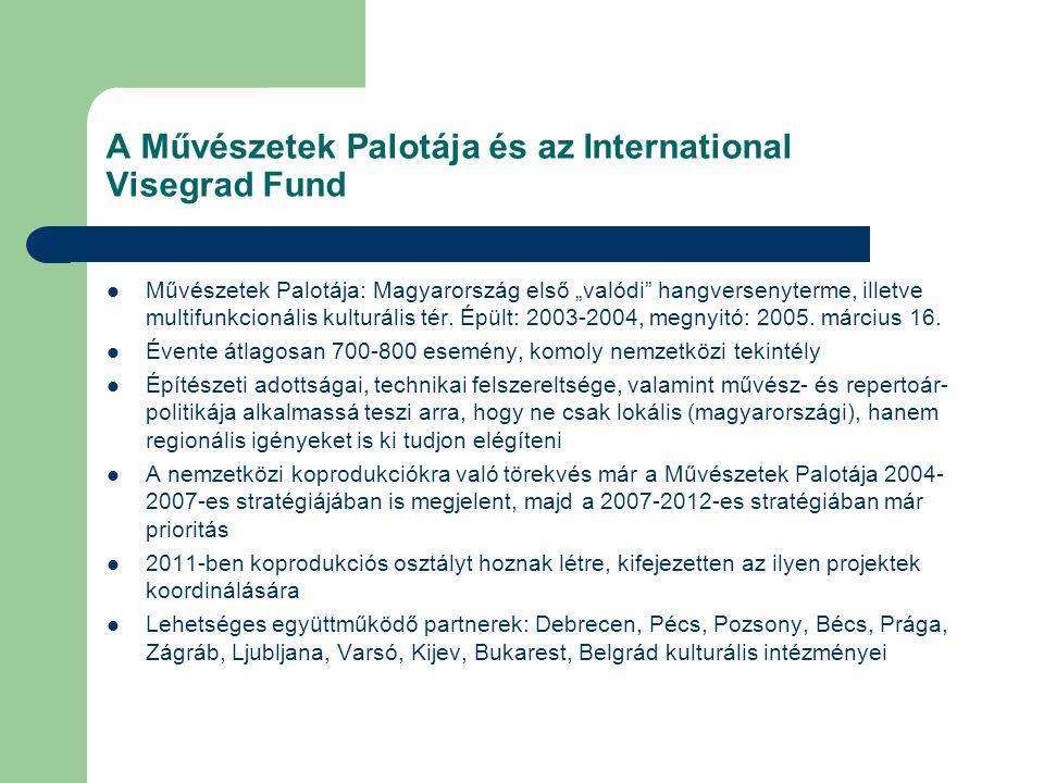 """A Művészetek Palotája és az International Visegrad Fund Művészetek Palotája: Magyarország első """"valódi"""" hangversenyterme, illetve multifunkcionális ku"""