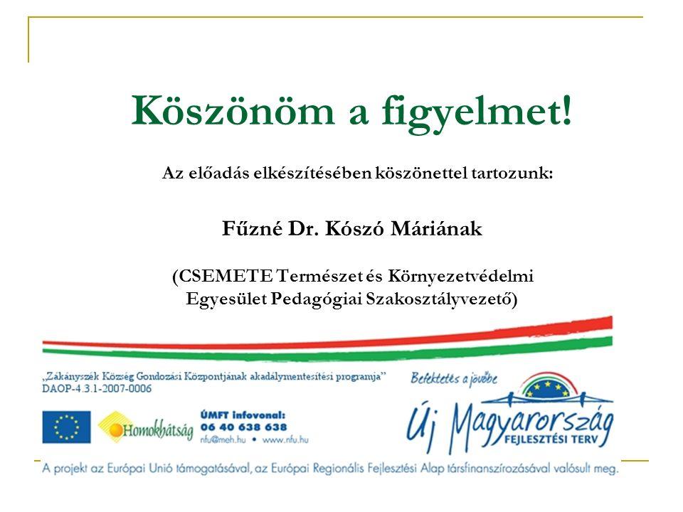 Köszönöm a figyelmet! Az előadás elkészítésében köszönettel tartozunk: Fűzné Dr. Kószó Máriának (CSEMETE Természet és Környezetvédelmi Egyesület Pedag