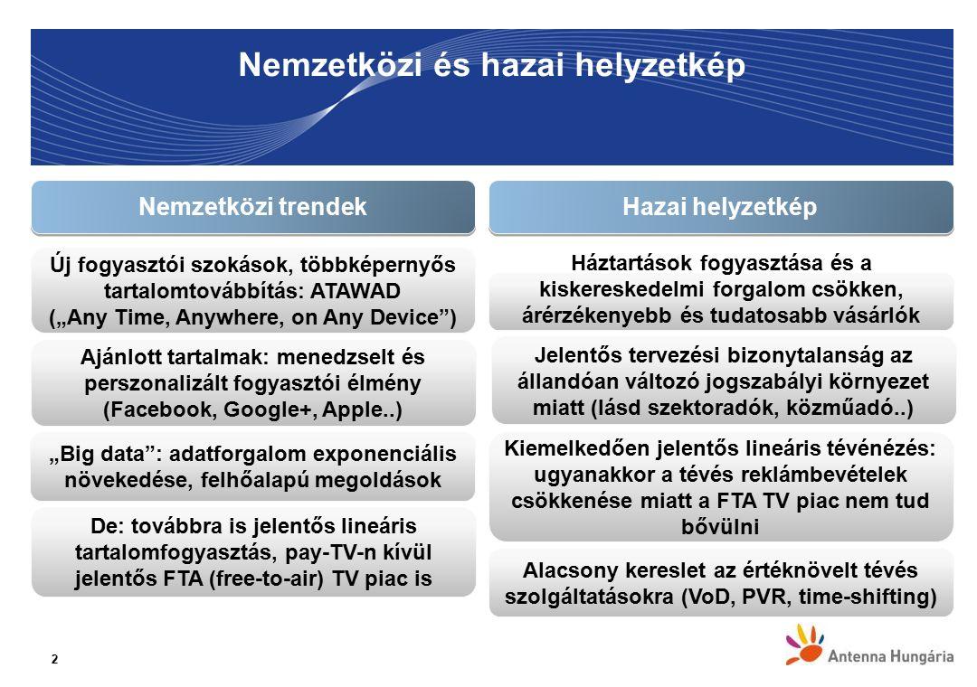 """Nemzetközi és hazai helyzetkép 2 De: továbbra is jelentős lineáris tartalomfogyasztás, pay-TV-n kívül jelentős FTA (free-to-air) TV piac is Ajánlott tartalmak: menedzselt és perszonalizált fogyasztói élmény (Facebook, Google+, Apple..) Új fogyasztói szokások, többképernyős tartalomtovábbítás: ATAWAD (""""Any Time, Anywhere, on Any Device ) Nemzetközi trendek Háztartások fogyasztása és a kiskereskedelmi forgalom csökken, árérzékenyebb és tudatosabb vásárlók Hazai helyzetkép Jelentős tervezési bizonytalanság az állandóan változó jogszabályi környezet miatt (lásd szektoradók, közműadó..) """"Big data : adatforgalom exponenciális növekedése, felhőalapú megoldások Alacsony kereslet az értéknövelt tévés szolgáltatásokra (VoD, PVR, time-shifting) Kiemelkedően jelentős lineáris tévénézés: ugyanakkor a tévés reklámbevételek csökkenése miatt a FTA TV piac nem tud bővülni"""