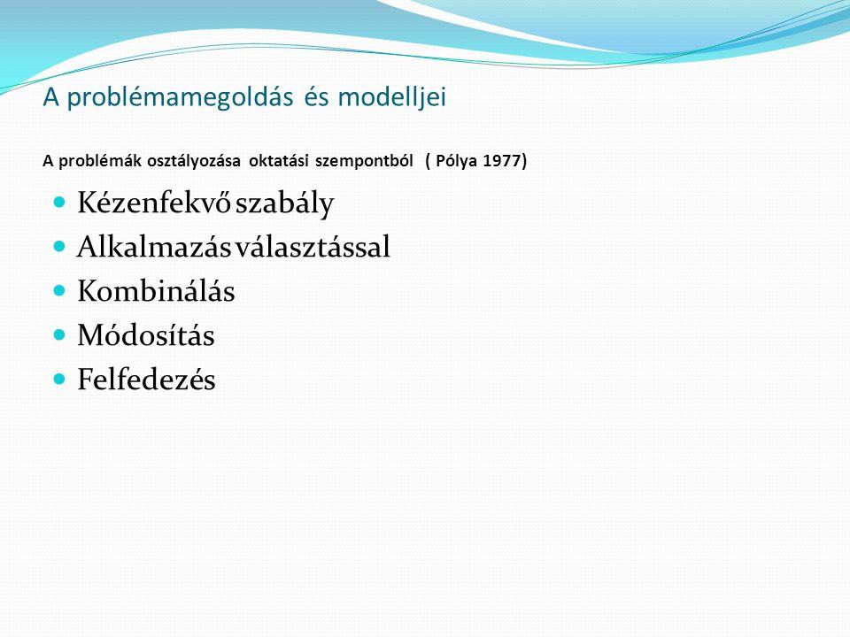 A problémamegoldás és modelljei A problémák osztályozása oktatási szempontból ( Pólya 1977) Kézenfekvő szabály Alkalmazás választással Kombinálás Módosítás Felfedezés