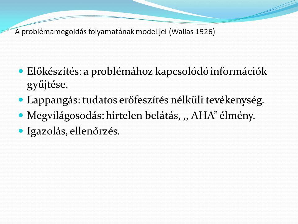 A problémamegoldás folyamatának modelljei (Wallas 1926) Előkészítés: a problémához kapcsolódó információk gyűjtése. Lappangás: tudatos erőfeszítés nél