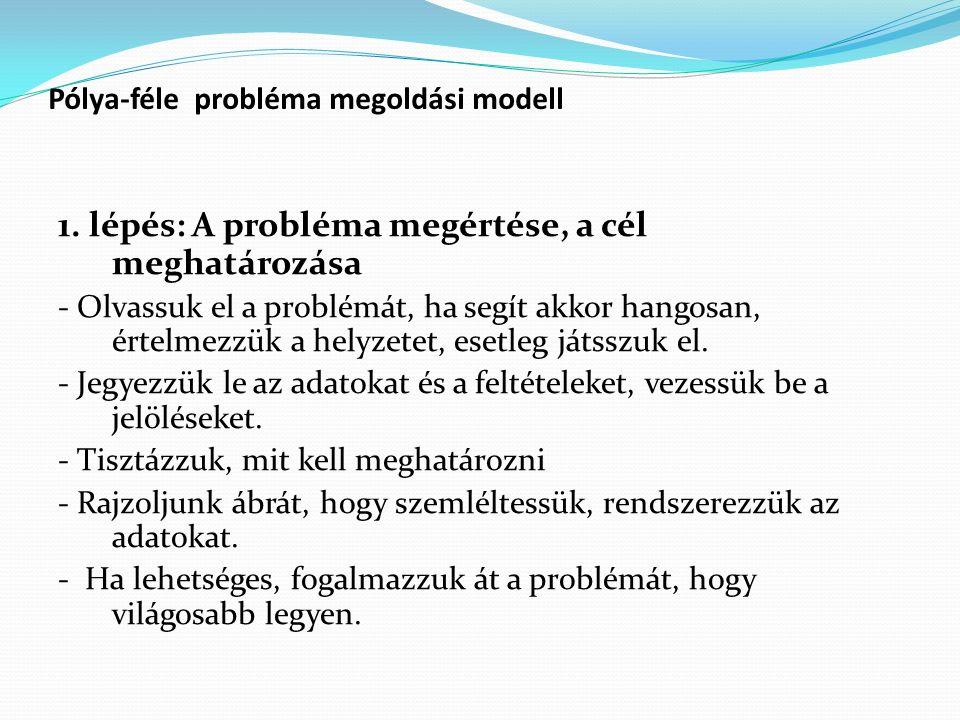 Pólya-féle probléma megoldási modell 1. lépés: A probléma megértése, a cél meghatározása - Olvassuk el a problémát, ha segít akkor hangosan, értelmezz