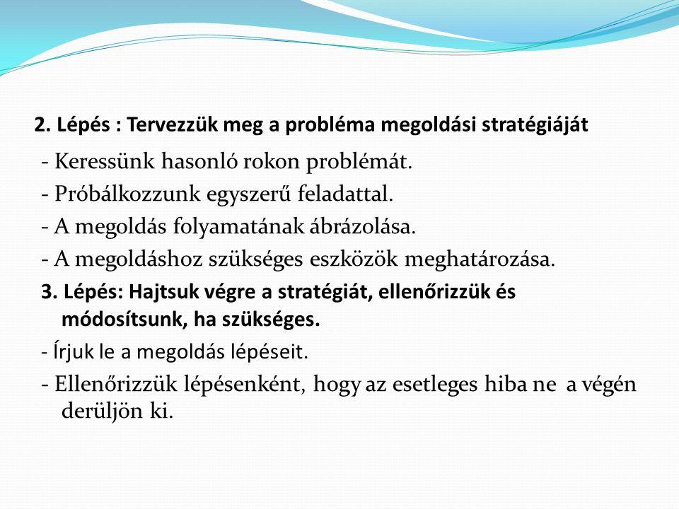 2. Lépés : Tervezzük meg a probléma megoldási stratégiáját - Keressünk hasonló rokon problémát. - Próbálkozzunk egyszerű feladattal. - A megoldás foly
