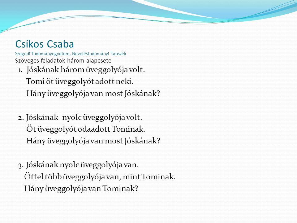 Csíkos Csaba Szegedi Tudományegyetem, Neveléstudományi Tanszék Szöveges feladatok három alapesete 1. Jóskának három üveggolyója volt. Tomi öt üveggoly