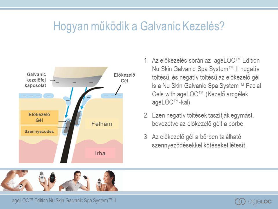 ageLOC™ Edition Nu Skin Galvanic Spa System™ II Előkezelő Gél Előkezelő Gél Galvanic kezelőfej kapcsolat Felhám Irha Szennyeződés 1.Az előkezelés során az ageLOC™ Edition Nu Skin Galvanic Spa System™ II negatív töltésű, és negatív töltésű az előkezelő gél is a Nu Skin Galvanic Spa System™ Facial Gels with ageLOC™ (Kezelő arcgélek ageLOC™-kal).