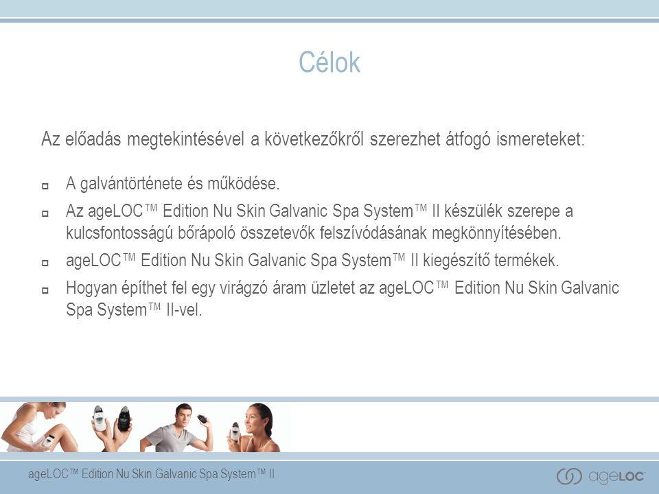 ageLOC™ Edition Nu Skin Galvanic Spa System™ II Nu Skin Galvanic Spa System™ Facial Gels with ageLOC™ (Kezelő arcgélek ageLOC™-kal) Mélytisztítás és revitalizálás Kiemeli a bőr természetes ragyogását, azáltal, hogy eltávolítja a szennyeződéseket és élénkíti a sejtenergiát.