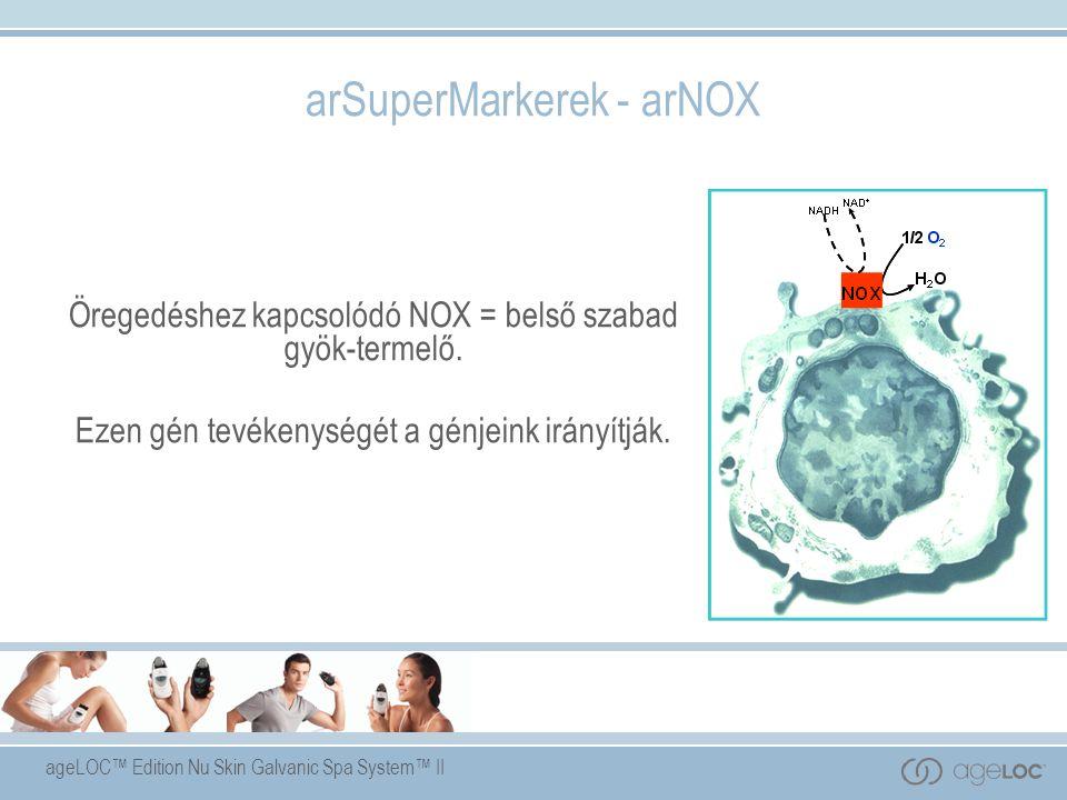 ageLOC™ Edition Nu Skin Galvanic Spa System™ II arSuperMarkerek - arNOX Öregedéshez kapcsolódó NOX = belső szabad gyök-termelő.