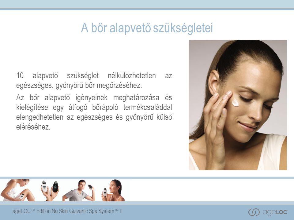 ageLOC™ Edition Nu Skin Galvanic Spa System™ II Kezelő gél ageLOC™-kal Kulcsfontosságú összetevők:  ageLOC™ - szabadalmazott, amely az arSuperMarkereket veszi célba, az öregedést kiváltó elsődleges tényezőket.