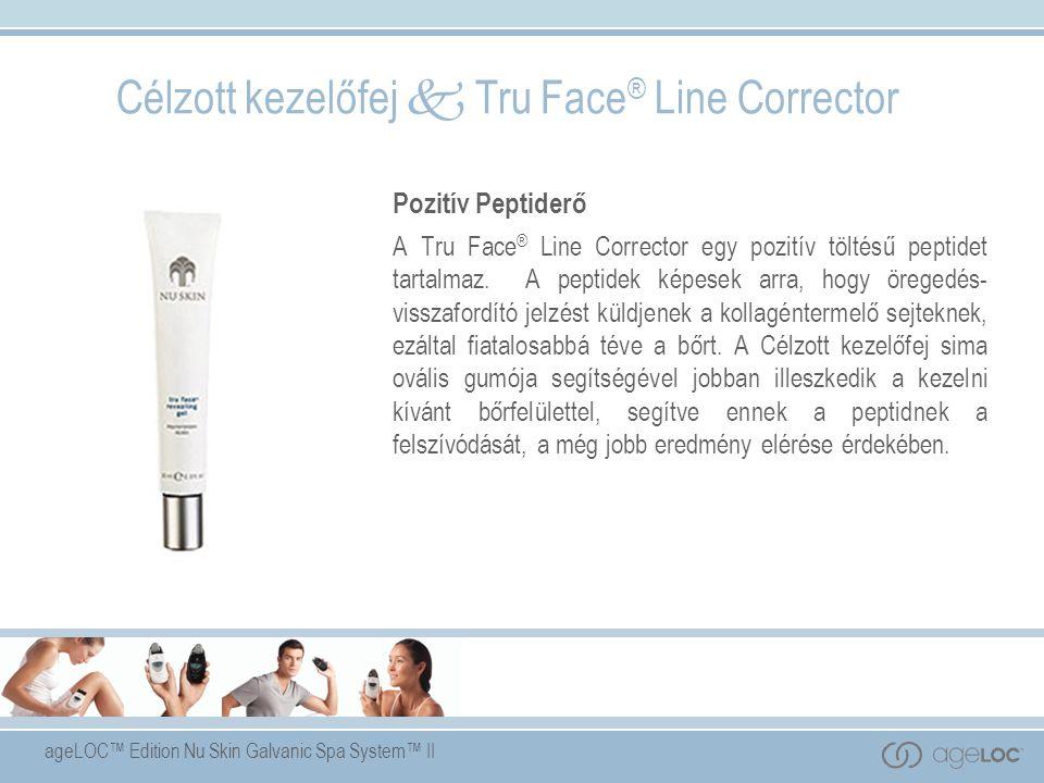ageLOC™ Edition Nu Skin Galvanic Spa System™ II Célzott kezelőfej  Tru Face ® Line Corrector Pozitív Peptiderő A Tru Face ® Line Corrector egy pozitív töltésű peptidet tartalmaz.