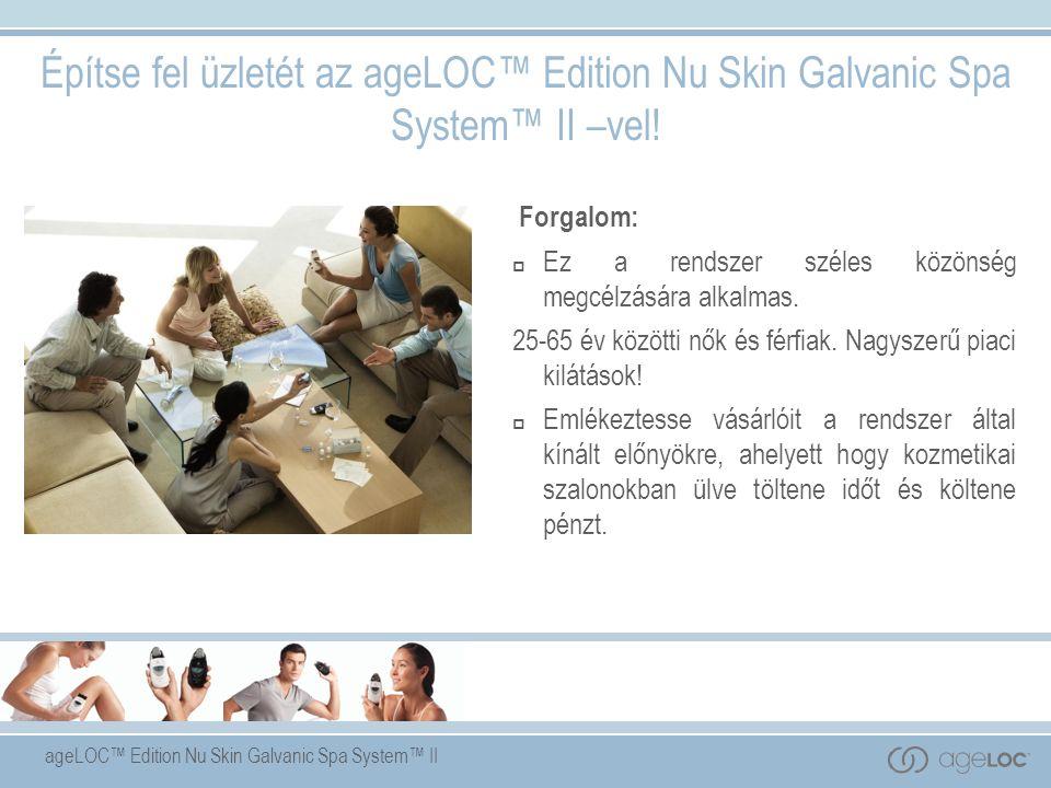 ageLOC™ Edition Nu Skin Galvanic Spa System™ II Forgalom:  Ez a rendszer széles közönség megcélzására alkalmas.