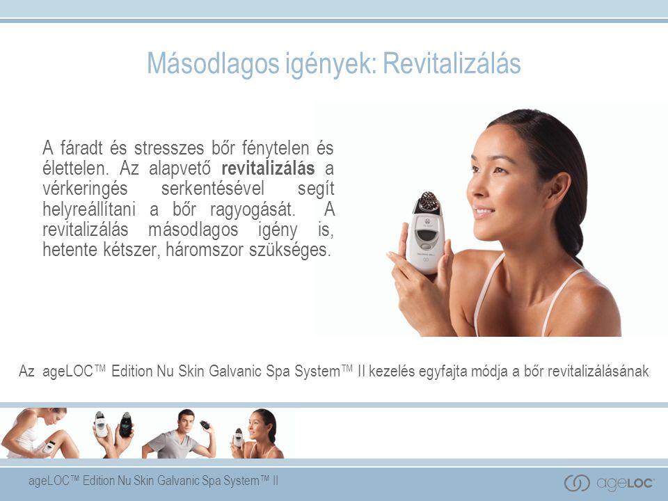 Az ageLOC™ Edition Nu Skin Galvanic Spa System™ II szabadalmazott, önbeállító áramerősséggel és cserélhető kezelőfejekkel – arcra, fejbőrre és testre- szinergikusan együttműködik a Nu Skin ® speciálisan kialakított termékeivel, hogy megkönnyítsék a kulcsfontosságú összetevők bőrbe jutását.