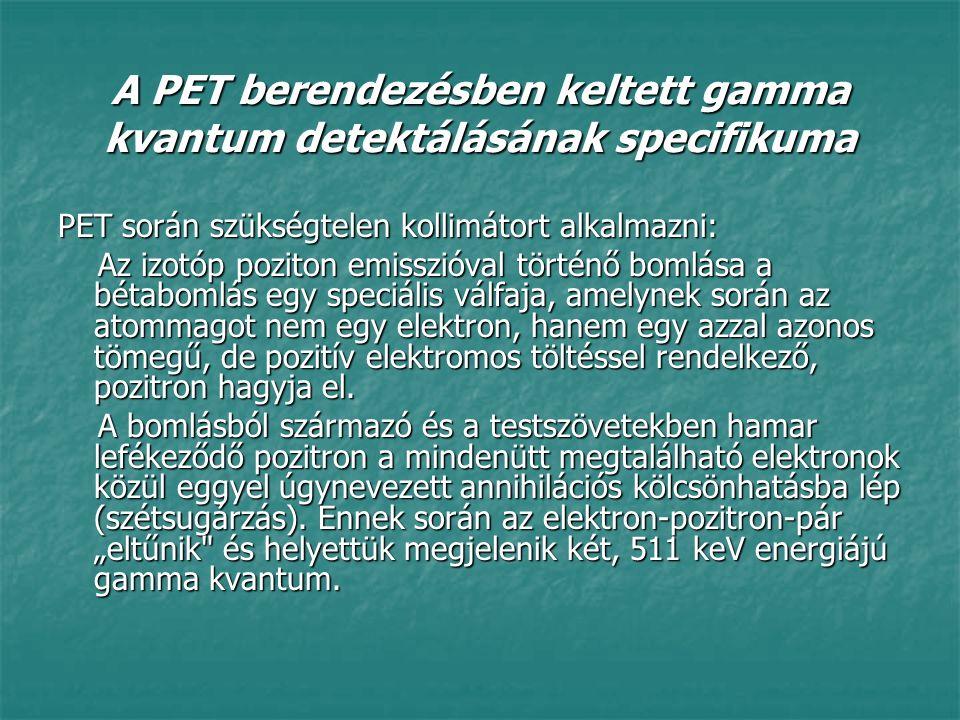 A PET berendezésben keltett gamma kvantum detektálásának specifikuma PET során szükségtelen kollimátort alkalmazni: Az izotóp poziton emisszióval tört