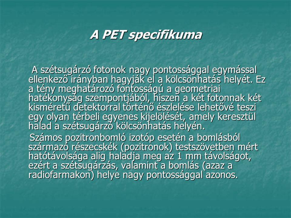 A PET specifikuma A szétsugárzó fotonok nagy pontossággal egymással ellenkező irányban hagyják el a kölcsönhatás helyét. Ez a tény meghatározó fontoss