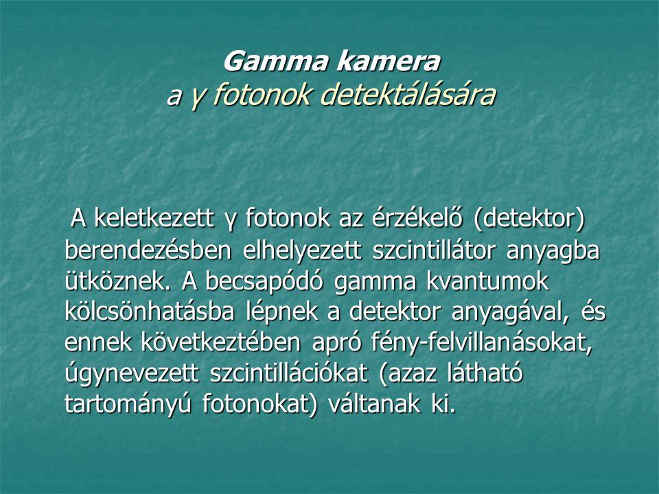 Gamma kamera a γ fotonok detektálására A keletkezett γ fotonok az érzékelő (detektor) berendezésben elhelyezett szcintillátor anyagba ütköznek. A becs