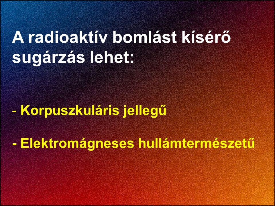 A radioaktív bomlást kísérő sugárzás lehet: - Korpuszkuláris jellegű - Elektromágneses hullámtermészetű