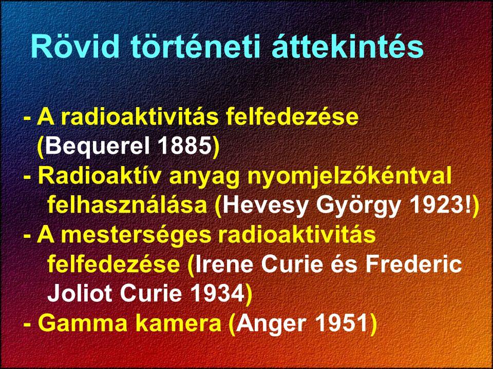 Rövid történeti áttekintés - A radioaktivitás felfedezése (Bequerel 1885) - Radioaktív anyag nyomjelzőkéntval felhasználása (Hevesy György 1923!) - A