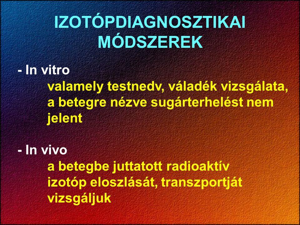 IZOTÓPDIAGNOSZTIKAI MÓDSZEREK - In vitro valamely testnedv, váladék vizsgálata, a betegre nézve sugárterhelést nem jelent - In vivo a betegbe juttatot